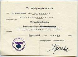 Verwundetenabzeichen in Schwarz 1914 für Heeresangehörige - Berechtigungsausweis zum Tragen
