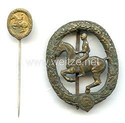 Deutsches Reiterabzeichen Klasse 3 in Bronze mit Miniatur