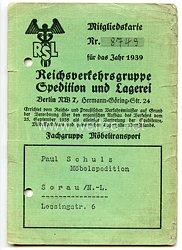 III. Reich - Reichsverkehrsgruppe Spedition und Lagerei ( RSL ) - Mitgliedskarte für das Jahr 1939