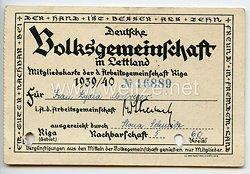 Deutsche Volksgemeinschaft in Lettland - Mitgliedskarte der Arbeitsgemeinschaft Riga 1939/40
