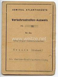 Admiral Atlantikküste - Verkehrsstreifen-Ausweis für einen Kraftfahr-Oberfeldwebel der 16. Marine-Kraftfahrabteilung