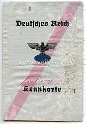 III. Reich - ( Vorläufige ) Kennkarte mit rotem Strich für eine Frau des Jahrgangs 1918 aus Wanne Kreis Gelsenkirchen