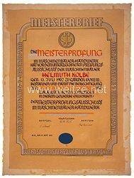 III. Reich - Handwerkskammer Lübeck - Meisterbrief