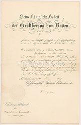 Baden - silberne Verdienstmedaille 1869-1881 - Verleihungsurkunde