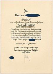 III. Reich - Ernennungsurkunde für einen außerplanmäßigen Steuerinspektor zum Steuerinspektor