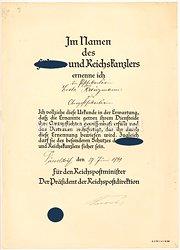 III. Reich - Ernennungsurkunde für eine Postsekretärin zur Oberpostsekretärin