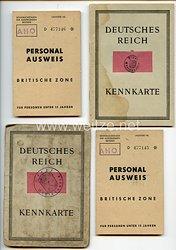 III. Reich / Nachkriegszeit - Konvolut von 4 x Kennkarte und Personalausweis Britische Zone