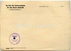 III. Reich - Der Chef der Zivilverwaltung für den Bezirk Bialystok - Güterdirektion - Briefpapier