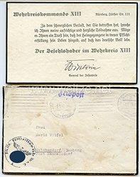 General der InfanterieMauritz von Wiktorin als Befehlshaber im Wehrkreis XIII Nürnberg - Beileidskarte