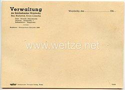 III. Reich - Verwaltung der Reichsdomäne Wojciechy Bez. Bialystok Kreis Lomscha - Briefpapier