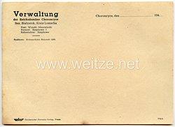 III. Reich - Verwaltung der Reichsdomäne Choroncyce Bez. Bialystok Kreis Lomscha - Briefpapier