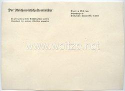 III. Reich - Der Reichswirtschaftsminister - Briefpapier