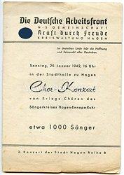 """NS.- Gemeinschaft """" Kraft durch Freude """" ( K.d.F.) - Programmheft zum Chor-Konzert am 25.1.1942 in Hagen"""