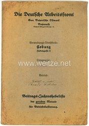 Die Deutsche Arbeitsfront ( DAF ) Gau Bayerische Ostmark Verwaltungs-Dienststelle Coburg - Mappe mit Dokumenten