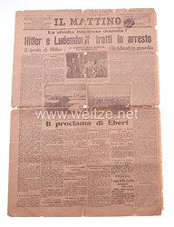 """Hitlerputsch am 8. und 9. November 1923 - Ausgabe der italienischen Zeitung """" Il Mattino """" vom 10./11.11.1923"""