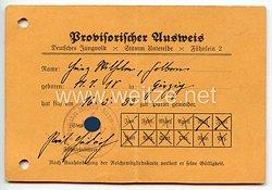 Deutsches Jungvolk ( DJ ) Stamm Unterelbe Fähnlein 2 - Provisorischer Ausweis für einen Jungen des Jahrgangs 1918