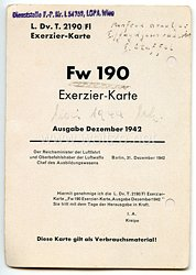 Luftwaffe - L.Dv.T.2190/Fl - Exerzier-Karte Focke Wulf Fw190 aus dem Besitz eines Jagdfliegers im Jagdgeschwader 108