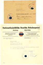 NSDAP Gauleitung Hessen-Nassau - Schreiben an einen Oberleutnant der Fp.-Nr. 39398 ( Kriegsorganisation Agram ) ( Abwehr )