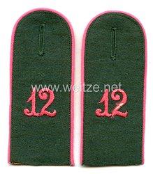 Wehrmacht Heer Paar Schulterklappen für Mannschaften Panzerabwehr-Abteilung Nr. 12