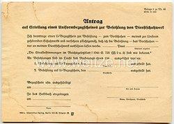 III. Reich - Antrag auf Erstellung eines Uniformbezugscheines zur Besohlung von Dienstschuhwerk