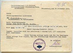 Der Reichskommissar für das Ostland - Schreiben an den Oberbürgermeister von Posen über Rückführungsgut