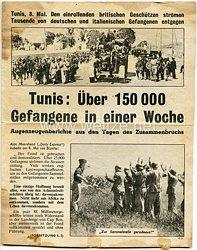"""2. Weltkrieg Propagandaflugblatt - """" Tunis, 8. Mai. Den einrollenden britischen Geschützen strömen Tausende von deutschen und italienischen Gefangenen entgegen """""""