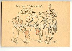 """III. Reich - farbige Propaganda-Postkarte - Wehrkreis XVII - Wien, Nieder-und Oberdonau """" Tag der Wehrmacht für das KWHW """""""