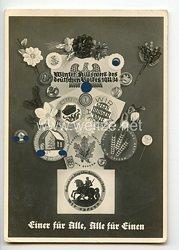 """III. Reich - Propaganda-Postkarte - """" Winterhilfswerk der deutschen Volkes 1933/34 - Einer für Alle, Alle für Einen """""""