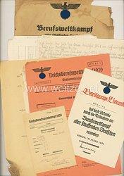 III. Reich - Berufswettkampf aller schaffenden Deutschen 1939 - Dokumentengruppe für einen Jungen des Jahrgangs 1923 im Wettkampfgau Westfalen-Süd