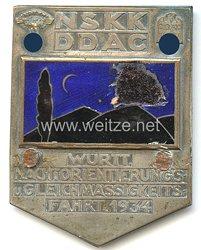 """NSKK / DDAC - nichttragbare Teilnehmerplakette - """" Württ. Nachtorientierungs- u. Gleichmässigkeitsfahrt 1934 """""""
