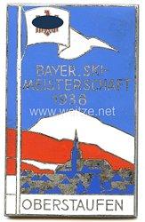 """III. Reich - nichttragbare Siegerplakette - """" Bayer. Ski-Meisterschaft 1938 Oberstaufen - Sieger 18 Km Langlauf Spez. Kl. I"""""""