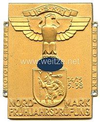 """NSKK - nichttragbare Teilnehmerplakette - """" Motorgruppe Nordmark Nordmark Frühjahrsprüfung 14./15.5.1938 """""""