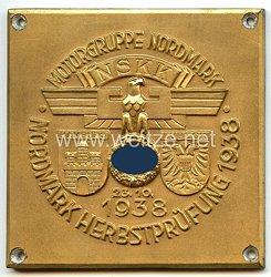 """NSKK - nichttragbare Teilnehmerplakette - """" Motorbrigade Nordmark - Nordmark Herbstprüfung 23.10.1938 Hamburg - Lübeck """""""