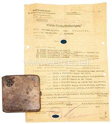Wehrmacht Heer - silbernes Zigarettenetui als Geschenk des 123. Trägers des Ritterkreuz des Eisernen Kreuzes mit Eichenlaub und Schwertern Maximilian Wengler an seinen Adjudanten