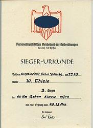 III. Reich / NSRL - Gau XII Hessen - Großauheimer Turn- u. Sporttag am 7.7.1940 - Sieger-Urkunde für einen Mann