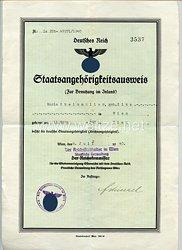 III. Reich - Staatsangehörigkeitsausweis für eine Frau des Jahrgangs 1893 aus Wien
