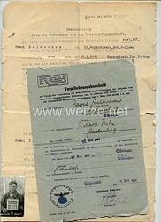 """III. Reich - Dokumentenpaar für einen aus der deutschen Kriegsgefangenschaft entlassenen Sowjetrussen, der sich danach im Sondereinsatz """" O """" der Kreisleitung der NSDAP verpflichtete"""