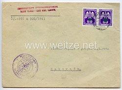 III. Reich - Regierungstruppe in Böhmen und Mähren - leerer Briefumschlag des Offiziersaspirantenkurs von 1943