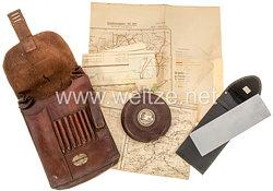 Wehrmacht braune Kartentasche mit Inhalt