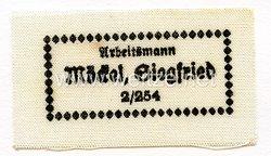 Reichsarbeitsdienst (RAD) Namensetikett für die Uniform