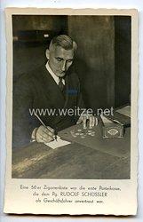 """III. Reich - Propaganda-Postkarte - """" Eine 50 er Zigarrenkiste war die erste Parteikasse, die dem Pg. Rudolf Schüssler als Geschäftsführer anvertraut war """""""