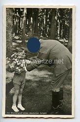 """III. Reich - Propaganda-Postkarte - """" Adolf Hitler - Der Blumengruß eines deutschen Jungen """""""