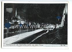 """III. Reich - Propaganda-Postkarte - """" Reichsparteitag Nürnberg 1937 - Vorbeimarsch der Politischen Leiter vor dem Führer """""""
