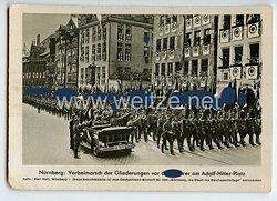 """III. Reich - Propaganda-Postkarte - """" Reichsparteitag Nürnberg - Vorbeimarsch der Gliederungen vor dem Führer am Adolf-Hitler-Platz """""""