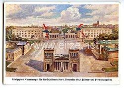 """III. Reich - farbige Propaganda-Postkarte - """" Königsplatz. Ehrentempel für die Gefallenen des 9. November 1923. Führer- und Verwaltungsbau """""""
