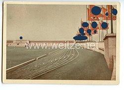 """III. Reich - farbige Propaganda-Postkarte - """" Reichsparteitag 1938 - Nürnberg - Reichsparteitagsgelände - Zeppelinwiese - Ehrentribüne mit Fahnenblöcken """""""