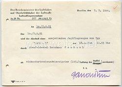 Luftwaffe - Abschußbescheinigung für den Ritterkreuzträger Oberfeldwebel Bernhard Vechtel der 10./Jagdgeschwader 51