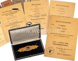 Nahkampfspange in Gold : Nachlass aus dem Besitz von Stabsgefreiten Mathias Klaes, 1./Grenadier-Regiment Nr. 505