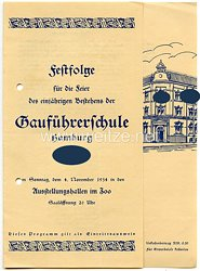 III. Reich - Festfolge für die Feier des einjährigen Bestehens der Gauführerschule Hamburg am 4.11.1934