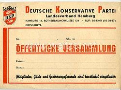 DKP - Deutsche Konservative Partei (1945–1946) Landesverband Hamburg - Aushang für eine öffentliche Versammlung